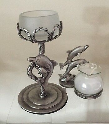 TWO Pewter Dolphin Votive   TeaLight Candle Holder Lot