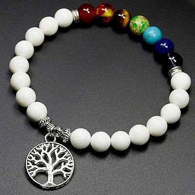 UK 7 Chakra Reiki Gemstone Crystal Power Stone Bead Bracelet Yoga Bangle Wrap