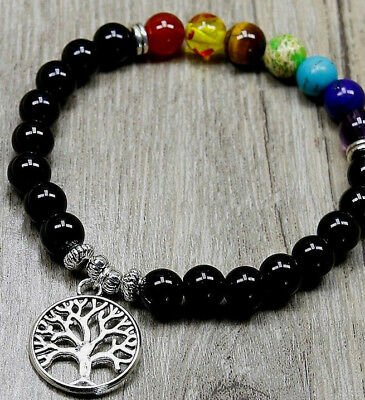 UK 7 Chakra Natural Stone Gemstone Beaded Tree of Life Charm Crystal Bracelet