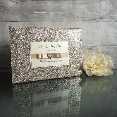 Personalised Glitter Sparkle Diamante Wedding/engagement Guest Book-Many Colours