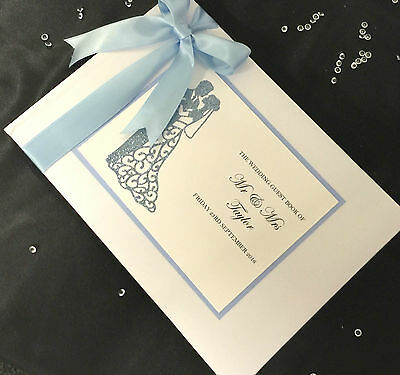 Personalised Glitter Sparkle Bride/groom  Wedding Guest Book Many Colours