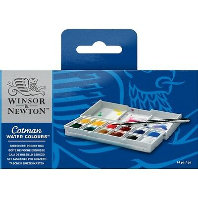 Winsor and Newton Cotman Watercolours Sketchers Pocket Box Set Of 12 Half Pans
