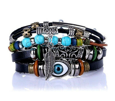 Men Ladies Multi Layer Surfer Stack Leather Bracelet Wristband Wrap for Guys New