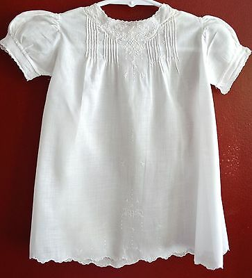 Vintage White Fine Cotton Christening Gown Dress Lovely Embroidery Infant 3-6 Mo