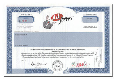 Ask Jeeves, Inc. Stock Certificate