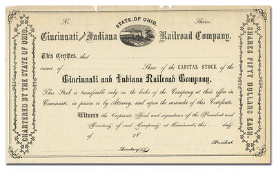 Cincinnati and Indiana Railroad Company Stock Certificate (1800's)
