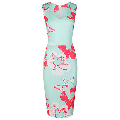 Mint Green Vintage Floral Bodycon UK Pencil Wiggle Summer Party Cocktail Dress