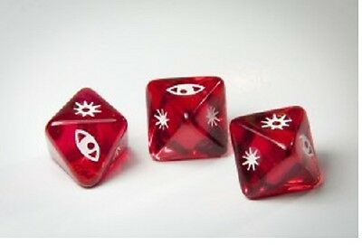 Dice X-Wing Miniatures Clear Red Attack Dice x 3