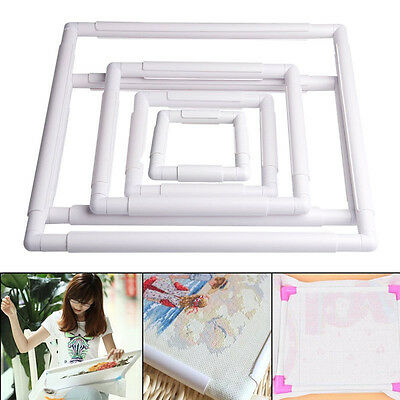 Square Rectangle Clip Embroidery Frame DIY Cross Stitch Hoop Stand Lap Tool Hot