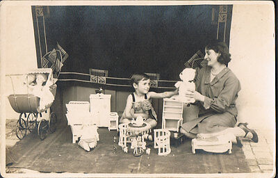 Real Photo Postcard RPPC  ~ Woman & Child On Floor Play With Toys & Dolls