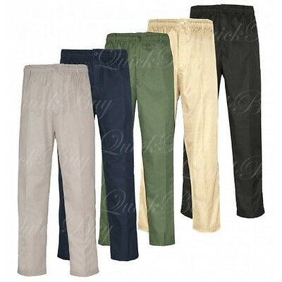 Mens Elasticated Waist Work Casual Plain Rugby Cotton Trousers Pants 30-50