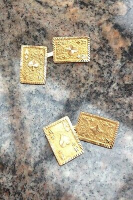 18 k gold games of cards cufflinks