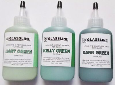 Glassline 'Shades of Green' Fusing Glass Paints ~ Set of Three Greens