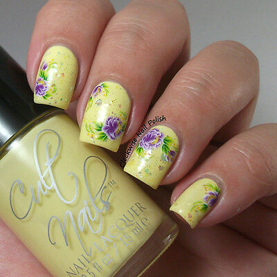 Nail Art Water Decals Stickers Transfers White Purple Flowers Gel