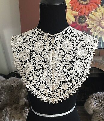 Antique VTG Victorian Point de Venice BOBBIN Lace Collar Museum Piece RARE #2