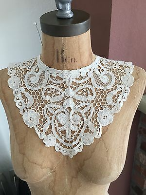 Antique VTG Victorian Batenburg Crochet BOBBIN Lace Collar Museum Piece RARE #7
