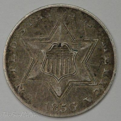 1856 Type-2 3c Silver Three-Cent Piece XF /N-206