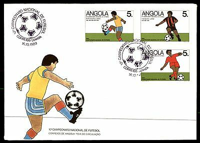 1989 Angola Soccer Unsealed Ua 3 Stamps Fdc First Day Cover