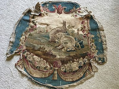 Antique French Aubusson Tapestry Chair Seat Cover Circa 1860 Rabbits Bunnies