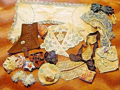 Lot Vintage Lace Trim Doily Fringe Collars Spat Ribbon Millinery Hat Doll Making