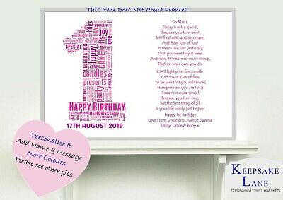 Personalised 1st First Birthday Gift Baby Girl Boy Son Daughter Niece Nephew