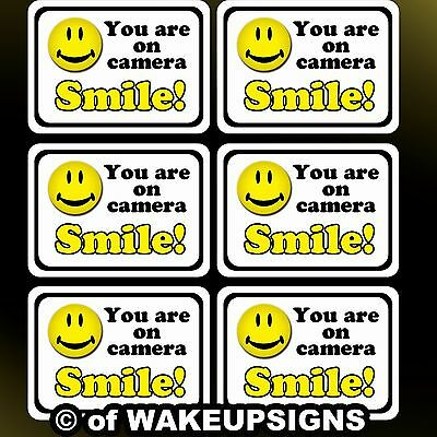 "your 6 video surveillance sticker decals 7"" by 5"" smile you are on camera you're"
