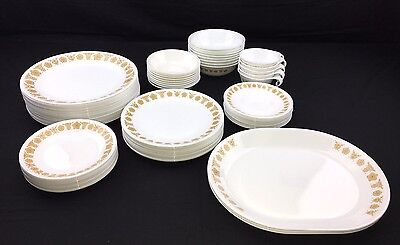 HUGE Set Of Corning Corelle Butterfly Gold Dishes Plates Bowls Mugs Cups Pyrex