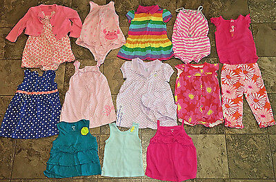 Carters Girl 15 pc lot Dress Outfits Rompers Size 12 Months Fall Summer Spring