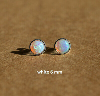 925 sterling silver Opal stud earrings with 4 and 5 mm Opal stones