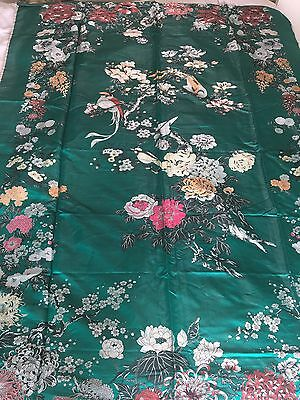 Large Piece Of Vintage Chinese Fabric Silk Jacquard Emerald Green Wall Hanging