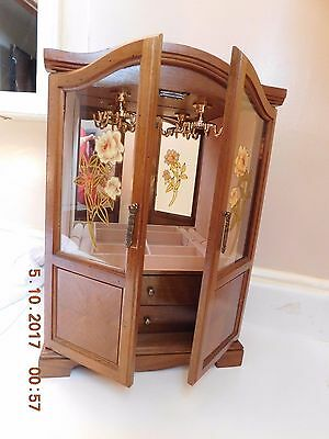 Vintage Wood jewelry Box Armoire Chest Glass Doors Ring Storage