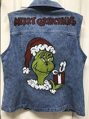 UGLY? Dr. SEUSS Grinch Vest Hand Painted Size LARGE Adult Clothing