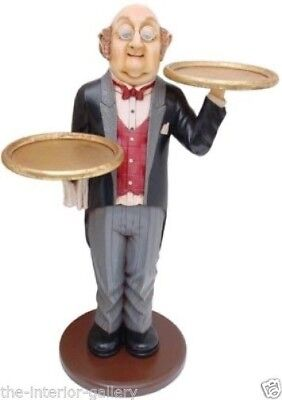 Waiter with 2 Trays - Butler Statue - Food Sign - Waiter w/ Tray Statue - 3 ft