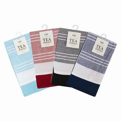 Pack of 3 100% Cotton Large Quality Tea Towels - TRIPLE RED BLUE BLACK MODERN