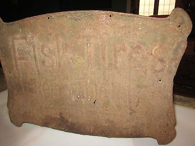 antique Fisk Tire sign Removable rims rusty roached gold