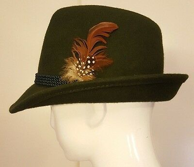 Vintage, Hunter Green, Trilby Hat with Feather (56 cm / 7)