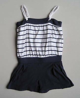 Janie and Jack YACHT PARTY Girls 6 Yrs Blue White Striped Romper EUC Nautical