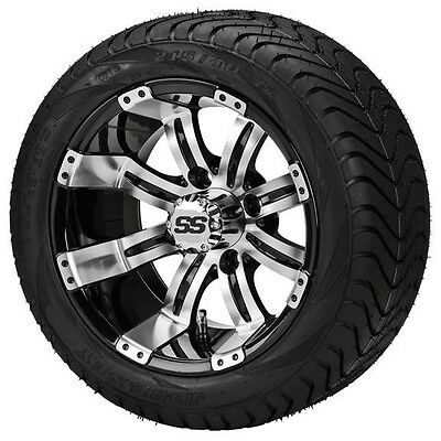 4 Golf Cart 215/35-12 Tire on a 12x7 Blk/Machined Casino Wheel w/FREE Freight