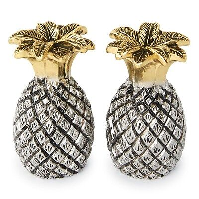 Mud Pie ML7 Welcome Kitchen Dining Metal Pineapple Salt & Pepper Shakers 4505007
