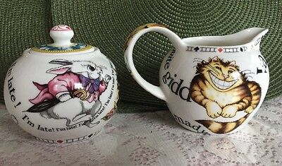 Paul Cardew Alice In Wonderland Tea Party Cheshire Cat Creamer and sugar bowl