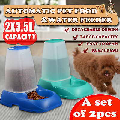 2x Automatic Pet Feeder Dog Cat Food Water Self Feeding Bowl Dispenser 3.5L