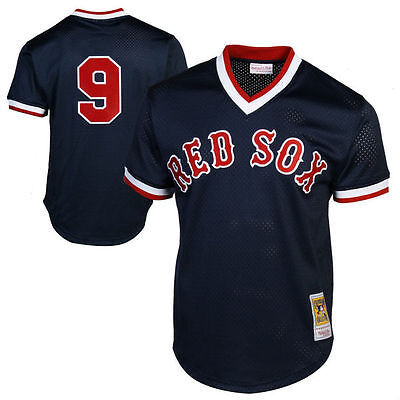 Men Boston Red Sox #9 Ted Williams 1990 Cooperstown BP Mesh Pullover Jersey Navy
