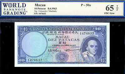 bucksless 1934: GEM UNG MACAU 10 PATACAS 1963, P-50a, PORTUGAL, CHINA