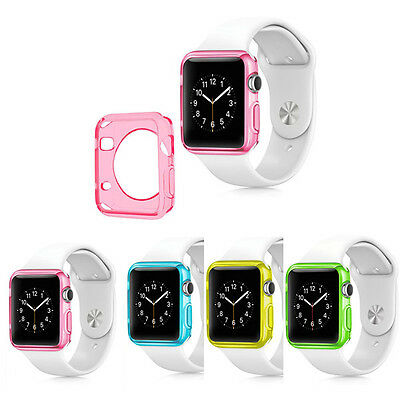 Fashion Soft Slim TPU Protection Case Cover For Apple Smart Watch 42MM Pink