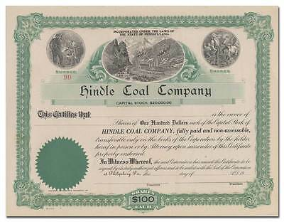 Hindle Coal Company Stock Certificate