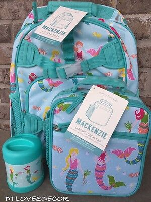 Pottery Barn Kids Large Mermaid Backpack/classic Lunch Bag/thermos~NWT