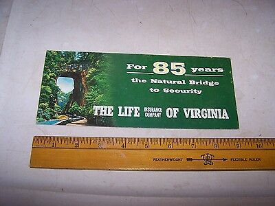 Vintage The Life Insurance Company of Virginia Ink Blotter NATURAL BRIDGE