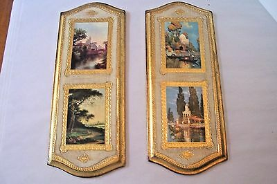 Vtg Italian Florentine Gold Gilt Wall Plaques Wood Regency Shabby Chic small