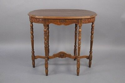 1920s Carved Wood Oval Side Table Antique Spanish Revival Vintage Tudor (10297)