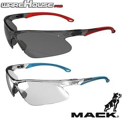 Brand New Mack Wave Safety Glasses- Blue or Red- 1,3 or 8 Pack